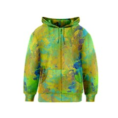 Abstract in Blue, Green, Copper, and Gold Kids Zipper Hoodies
