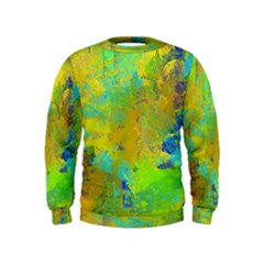 Abstract in Blue, Green, Copper, and Gold Boys  Sweatshirts