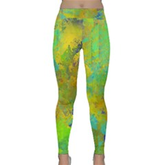 Abstract in Blue, Green, Copper, and Gold Yoga Leggings