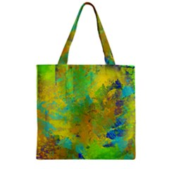 Abstract in Blue, Green, Copper, and Gold Zipper Grocery Tote Bags