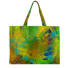 Abstract In Blue, Green, Copper, And Gold Zipper Tiny Tote Bags