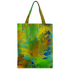 Abstract in Blue, Green, Copper, and Gold Zipper Classic Tote Bags