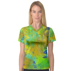 Abstract in Blue, Green, Copper, and Gold Women s V-Neck Sport Mesh Tee