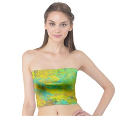 Abstract In Blue, Green, Copper, And Gold Women s Tube Tops