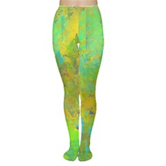 Abstract In Blue, Green, Copper, And Gold Women s Tights