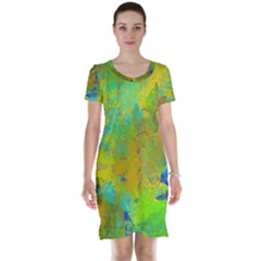 Abstract in Blue, Green, Copper, and Gold Short Sleeve Nightdresses