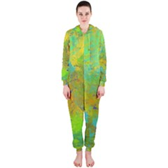 Abstract In Blue, Green, Copper, And Gold Hooded Jumpsuit (ladies)