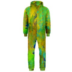 Abstract In Blue, Green, Copper, And Gold Hooded Jumpsuit (men)