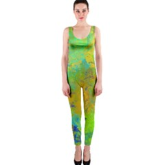 Abstract in Blue, Green, Copper, and Gold OnePiece Catsuits
