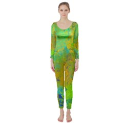 Abstract In Blue, Green, Copper, And Gold Long Sleeve Catsuit