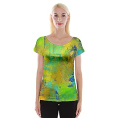 Abstract in Blue, Green, Copper, and Gold Women s Cap Sleeve Top