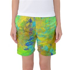 Abstract in Blue, Green, Copper, and Gold Women s Basketball Shorts