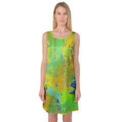 Abstract in Blue, Green, Copper, and Gold Sleeveless Satin Nightdresses