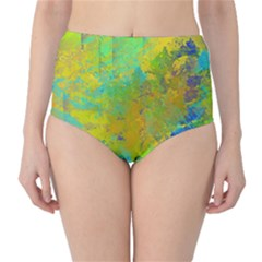 Abstract In Blue, Green, Copper, And Gold High Waist Bikini Bottoms