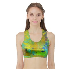 Abstract in Blue, Green, Copper, and Gold Women s Sports Bra with Border