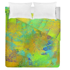Abstract In Blue, Green, Copper, And Gold Duvet Cover (full/queen Size)