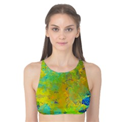 Abstract In Blue, Green, Copper, And Gold Tank Bikini Top