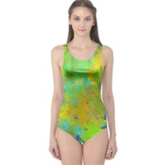 Abstract In Blue, Green, Copper, And Gold Women s One Piece Swimsuits