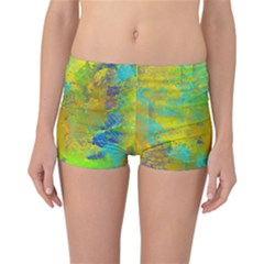Abstract in Blue, Green, Copper, and Gold Reversible Boyleg Bikini Bottoms