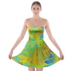 Abstract in Blue, Green, Copper, and Gold Strapless Bra Top Dress