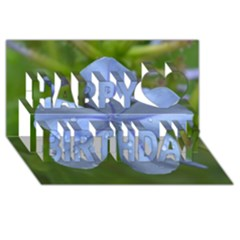 Blue Water Droplets Happy Birthday 3D Greeting Card (8x4)