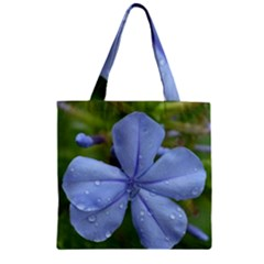 Blue Water Droplets Zipper Grocery Tote Bags
