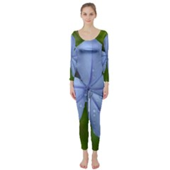 Blue Water Droplets Long Sleeve Catsuit