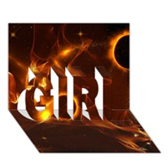 Fire And Flames In The Universe Girl 3d Greeting Card (7x5)