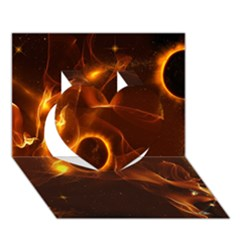 Fire And Flames In The Universe Heart 3D Greeting Card (7x5)