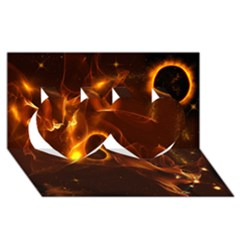Fire And Flames In The Universe Twin Hearts 3d Greeting Card (8x4)