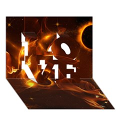 Fire And Flames In The Universe Love 3d Greeting Card (7x5)
