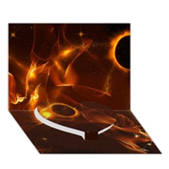 Fire And Flames In The Universe Heart Bottom 3D Greeting Card (7x5)