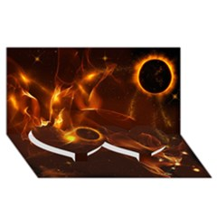 Fire And Flames In The Universe Twin Heart Bottom 3D Greeting Card (8x4)