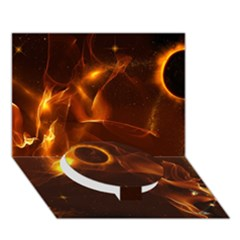 Fire And Flames In The Universe Circle Bottom 3D Greeting Card (7x5)