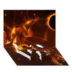 Fire And Flames In The Universe Love Bottom 3d Greeting Card (7x5)