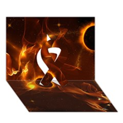 Fire And Flames In The Universe Ribbon 3D Greeting Card (7x5)
