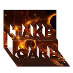 Fire And Flames In The Universe TAKE CARE 3D Greeting Card (7x5)