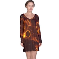 Fire And Flames In The Universe Long Sleeve Nightdresses