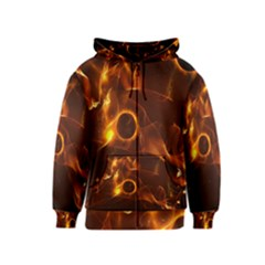 Fire And Flames In The Universe Kids Zipper Hoodies