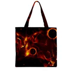 Fire And Flames In The Universe Zipper Grocery Tote Bags