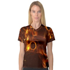 Fire And Flames In The Universe Women s V-Neck Sport Mesh Tee
