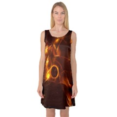 Fire And Flames In The Universe Sleeveless Satin Nightdresses