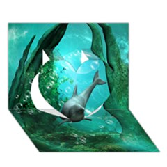 Wonderful Dolphin Heart 3D Greeting Card (7x5)