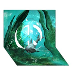 Wonderful Dolphin Peace Sign 3d Greeting Card (7x5)