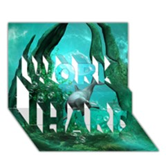 Wonderful Dolphin WORK HARD 3D Greeting Card (7x5)