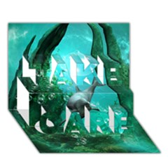 Wonderful Dolphin TAKE CARE 3D Greeting Card (7x5)