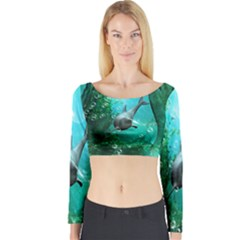 Wonderful Dolphin Long Sleeve Crop Top