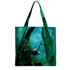 Wonderful Dolphin Zipper Grocery Tote Bags