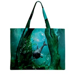 Wonderful Dolphin Zipper Tiny Tote Bags