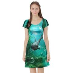 Wonderful Dolphin Short Sleeve Skater Dresses